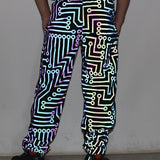 Load image into Gallery viewer, Men Circuit Geometric Reflective  Hip Hop Mechanical Dance Fluorescent Pants