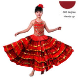 Load image into Gallery viewer, Kids Flamenco Belly Spanish Gypsy Chorus Stage Performance Dance Dresses for Girls
