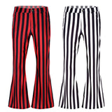 Load image into Gallery viewer, Men 60s 70s Retro Vintage Mid Waist Striped Stretch Bell Bottom Super Flares Long Jazz Pants