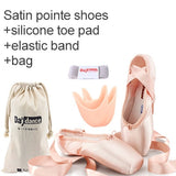 Load image into Gallery viewer, Girls Professional Ballet Pointe Shoes  Satin Ballet Shoes With Ribbons