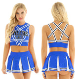 Load image into Gallery viewer, Red Sleeveless Pentagram Back Crop Top with Mini Pleated Skirt Jazz Dance Costumes Women Charming Cheerleader Cosplay Costume Set