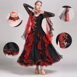 Load image into Gallery viewer, Black And Red Exquisite Decals Long Sleeves Women Ballroom Dance Comepitition Dress Rumba Dance Costumes Ball Gown
