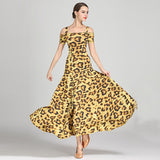 Load image into Gallery viewer, Leopard Ultra-fine Milk Silk Off- Shoulder Women Party Dress Standard Ballroom Dress Rumba Dance Costume Stage Dance Wear
