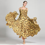 Load image into Gallery viewer, Leopard Bare Shoulder Backless Long Sleeves Evening Party Dress For Women Ballroom Gown Tango Costume Waltz Dress