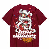 Load image into Gallery viewer, Mens Lion Dance Print Tide Brand Hip Hop Short Sleeve Cotton Dance T-shirt  Man Summer Street Fashion Casual Tops