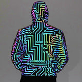 Load image into Gallery viewer, Men Circuit Geometric Pattern Rainbow Color Reflective Dance Jacket Mens Hip-hop Mechanical Dance Hooded Coat