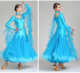 Load image into Gallery viewer, V-Neck Hidden Zipper Exquisite Decals Ballroom Dance Competition Dress For Women Viennese Waltz Dress Rumba Dance Costume Ball Gown