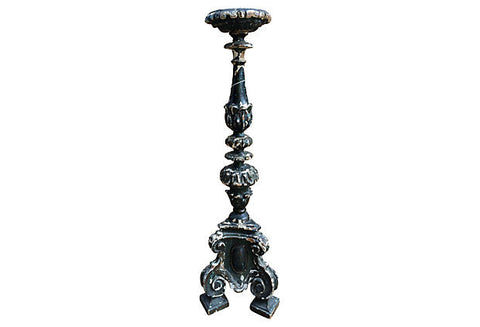 18th Century Italian Hand-carved Candlestick - FREE SHIPPING