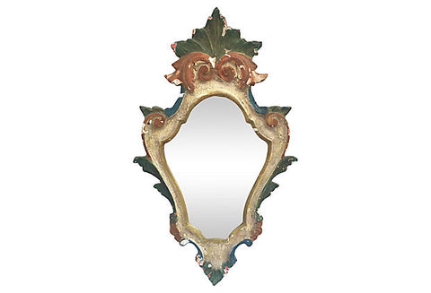 1930s Italian Polychrome Wall Mirror - FREE SHIPPING