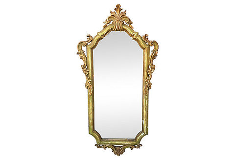 1940s Italian Carved Parcel-gilt Mirror