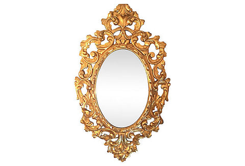 1940s Italian Hand-carved Oval Mirror