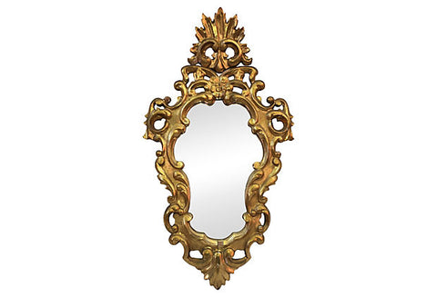 1940s Italian Carved Flower & Acanthus Leaves Mirror