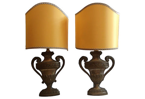 19th-Century French Carved Urn Lamps, Pair