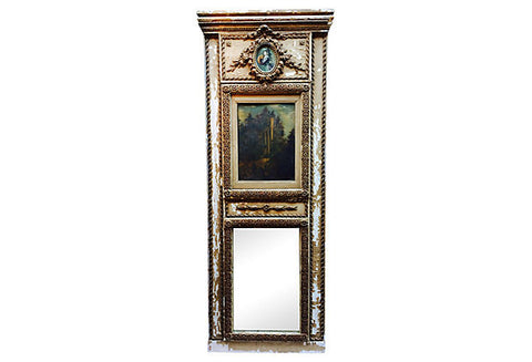19th-Century French Trumeau with Oil Painting