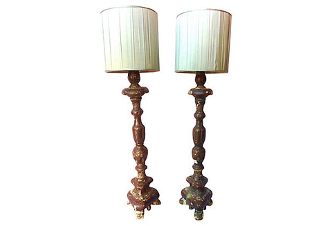 19th-Century Italian Candlestick Lamps, Pair