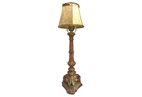 19th-C. Italian Plaster/Wood Lamp - FREE SHIPPING