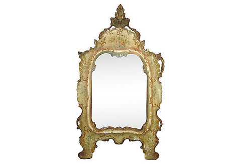 19th-C. Venetian Carved and Painted Mirror - FREE WHITE-GLOVE Shipping