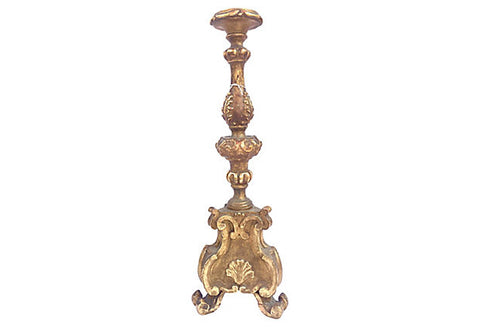 19th-C Italian Carved & Gilt Candlestick - FREE SHIPPING