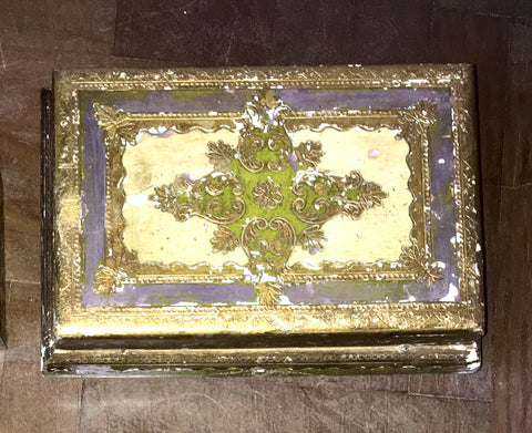 1940s Italian Florentine Hand-painted and Parcel-gilt Wooden Box   *FREE SHIPPING*