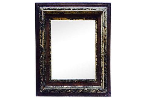 Carved and Painted Framed Mirror - FREE SHIPPING