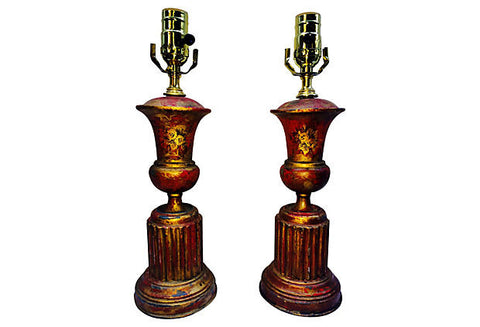 French Neoclassical Tole Lamps, Pair - FREE SHIPPING