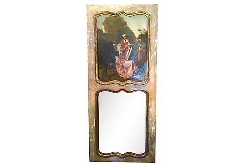 French Trumeau Parcel-Gilt Mirror with Oil Canvas