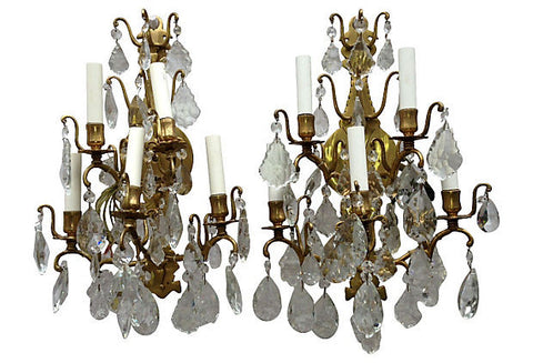 Pair of Italian Crystal and Glass Sconces - FREE SHIPPING