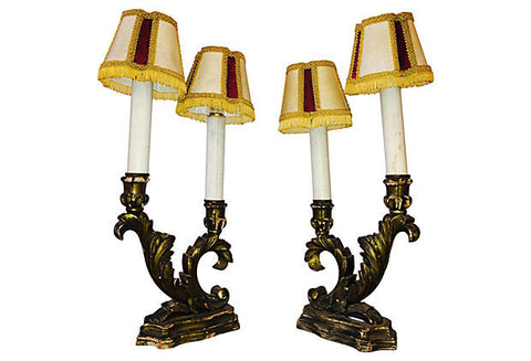 Italian Silver Gilt Table Lamps, Pair - FREE SHIPPING