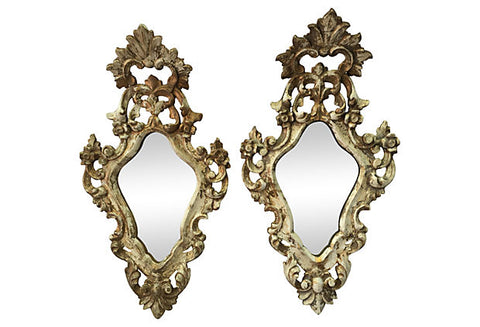Italian Carved Parcel-Gilt Mirrors, Pair