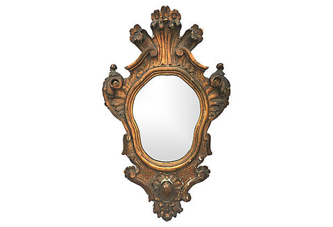 1930s Italian Carved Wood and Parcel-gilt Mirror
