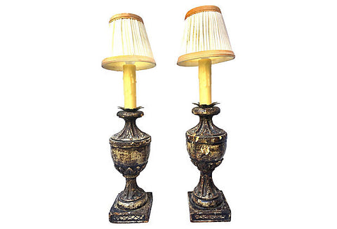 Italian Carved Wood Urn Lamps, Pair
