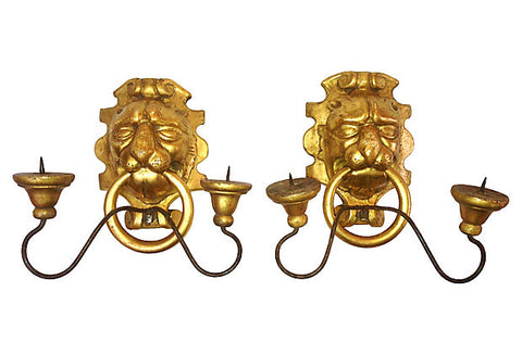 Italian Gilt Lion Candle Sconces, Pair - FREE SHIPPING