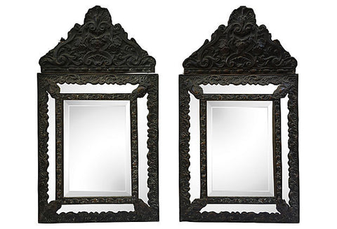 Italian Hand-Carved, Beveled Cushion Mirrors, Pair