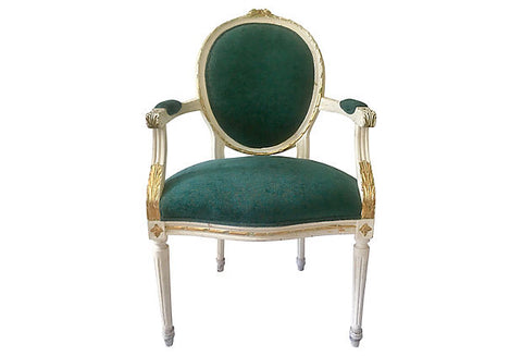 Louis XVI Parcel-Gilt Medallion Armchair - FREE SHIPPING
