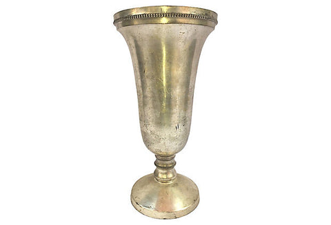 Neoclassical Pressed & Plated Metal Vase - FREE SHIPPING