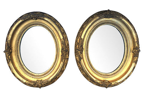 1950s Oval Carved & Gilt Mirrors, Pair