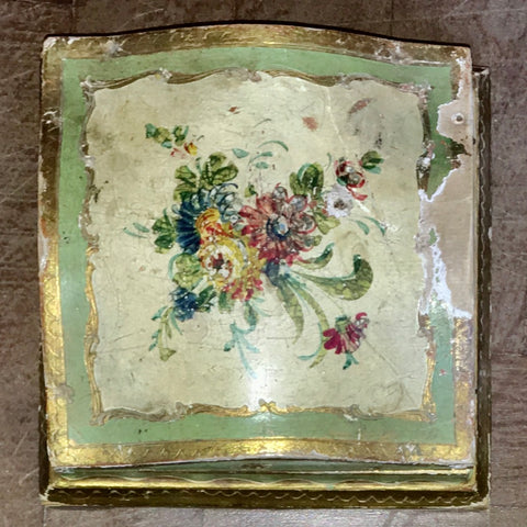 1940s Italian Florentine Square Hand-painted & Parcel-gilt Box   *FREE SHIPPING*