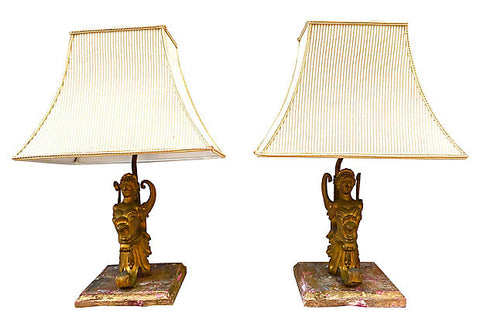 Winged Nike Metal Library-style Lamps, Pair