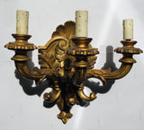 1940s Italian Three-pronged Gilt and Carved Sconce