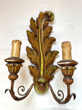 Italian Acanthus Leaf Carved & Painted Sconce