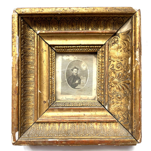 18th-C St. Ignatius Loyola, Gilt Framed Print