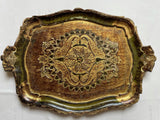 Florentine Oval Painted and Parcel-gilt Emerald Tray