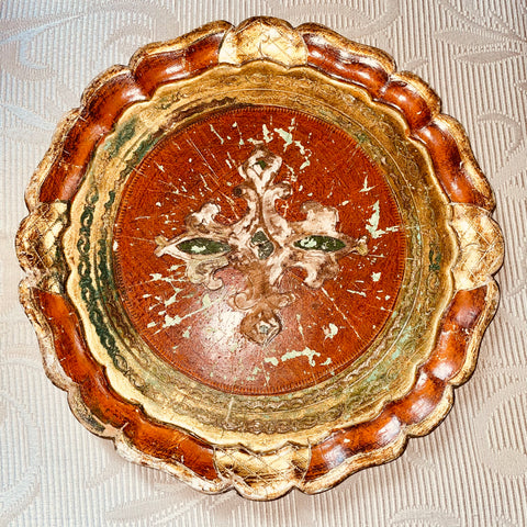 1950s Florentine Painted & Parcel-gilt Green/Amber Tray w/Filigree Details