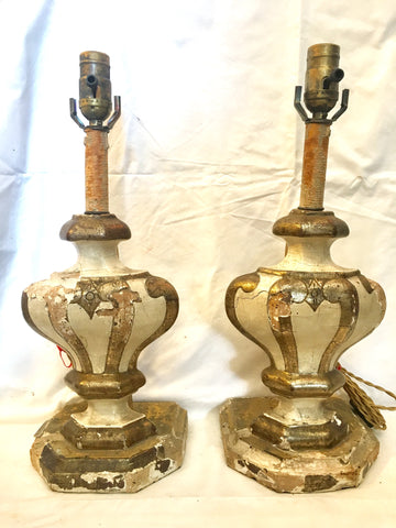19th-Century Italian Parcel-gilt Fragment Table Lamps, Pair