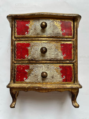 Florentine Painted & Parcel-gilt Ruby and Cream Box w/Filigree