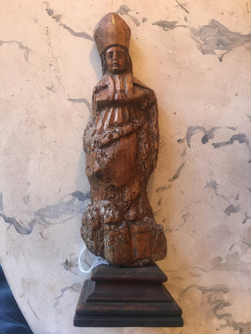 17th-Century Italian Carved Wood Pope Statue - FREE SHIPPING
