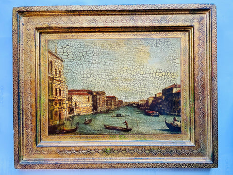 Venice Canal Grande with Filigree Florentine Gilt Frame