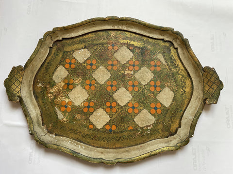 1940s Florentine Oval Painted and Parcel-gilt Tray (chipped and peeling)