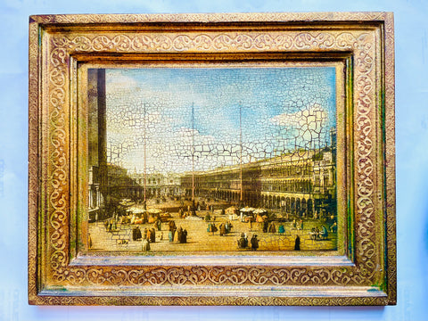 Venice Piazza San Marco with Filigree Gilt Florentine Frame