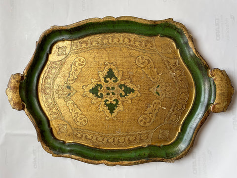 Oval Florentine Painted and Parcel-gilt Tourmaline Tray
